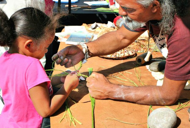 Learn crafts from the original Californians, coastal Native Americans, at the Moompetam Festival. Photo courtesy of the Aquarium of the Pacific