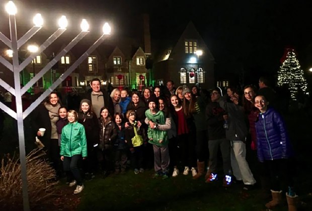 Join the Moorestown community for the lighting of the lawn menorah. Photo courtesy of The Chabad Center
