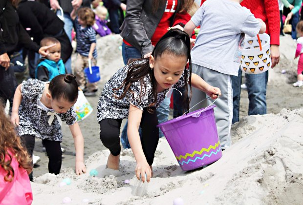 Search for eggs on the sand at Morey's Piers' Easter Celebration and Egg Hunt. Photo courtesy of Wildwoods
