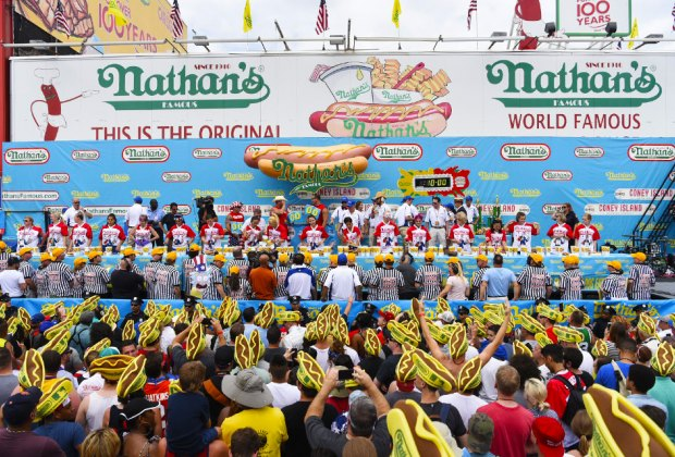 Celebrate at the Annual Nathan's Hot Dog Eating Contest on July 4th at the corner of Surf & Stillwell in Coney Island. Photo courtesy of Nathan's