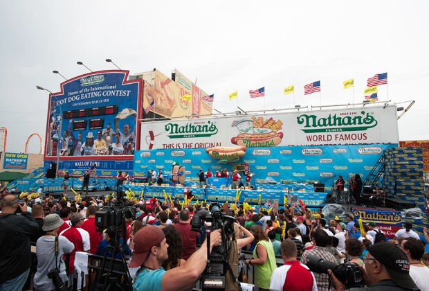 The annual hot dog eating contest at Coney Island is a fun way to spend the 4th of July with kids. Photo courtesy of the event