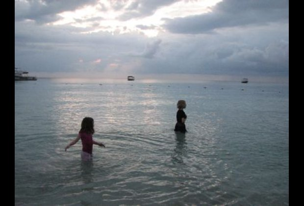 Sunset swim, fully clothed.