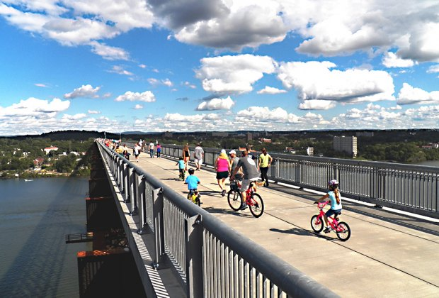 Walk, bike, scooter, or blade across the Walkway Over the Hudson in Poughkeepsie, connecting Dutchess and Ulster counties. Photo by Fred Schaeffer