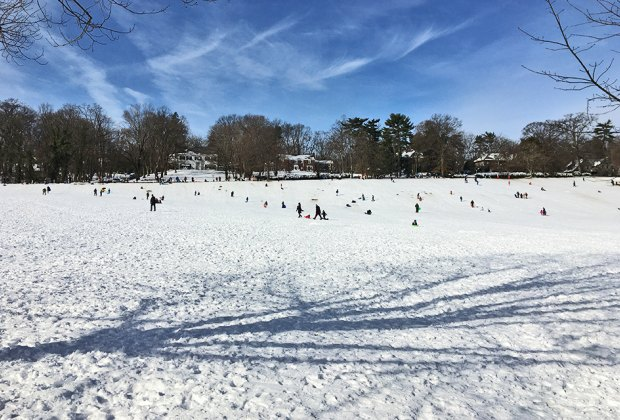 Glide down the sledding hills at Floods Hills in South Orange