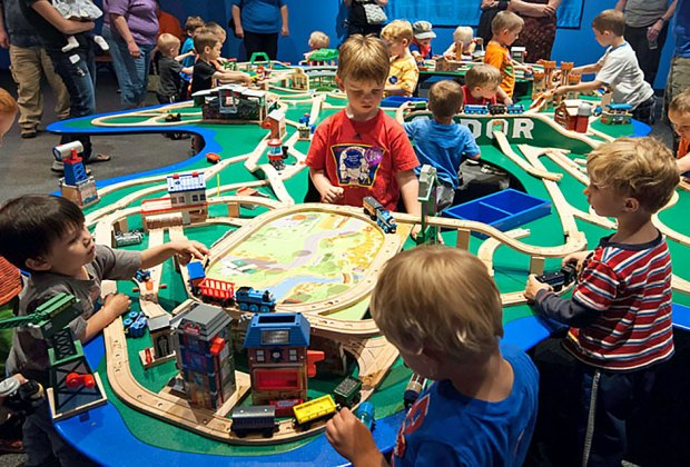 All aboard for a trainload of adventures at the Thomas and Friends: Explore the Rails  exhibit at the Liberty Science Center. Photo courtesy of LSC