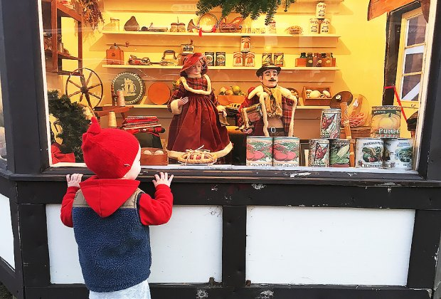 Peek in the windows at the magical Dickens Village. Photo by Rose Gordon Sala