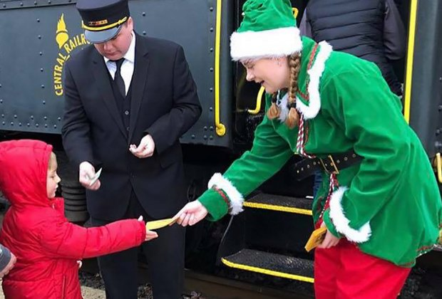 Santa's elves greet riders on the North Pole Express in Flemington. Photo courtesy of Black River & Western Railroad