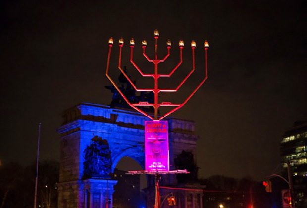 """""""The Largest Menorah"""" in Brooklyn stands 32-feet tall in Grand Army Plaza. Photo courtesy of largestmenorah.com"""