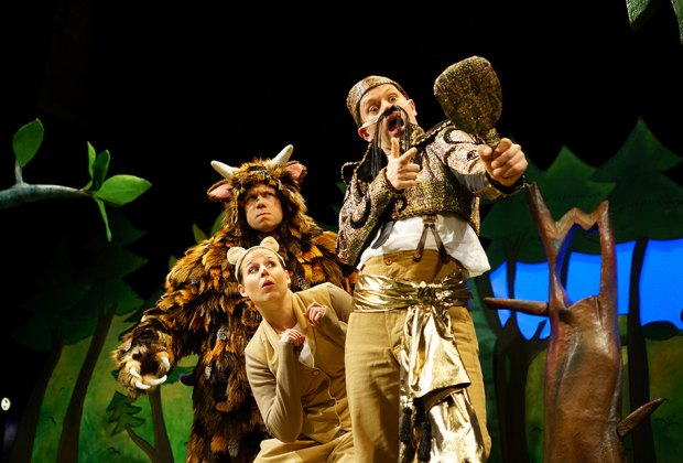 Join mouse on a daring adventure through the deep, dark woods in Tall Stories' musical adaptation of The Gruffalo.  Photo courtesy of Tall Stories via Flushing Town Hall