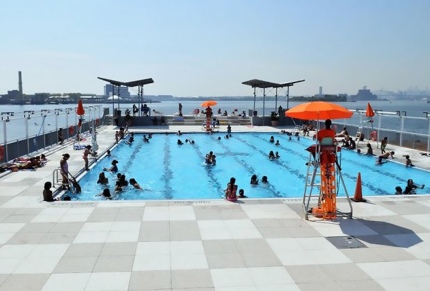 The Floating Pool Lady is permanently docked at Barretto Point Park. Photo courtesy of NYC Parks