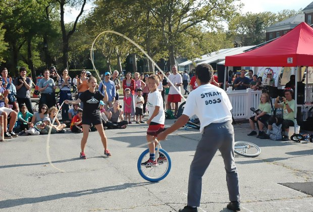 Celebrate the last weekend before school starts at the Unicycle Festival on Governors Island. Photo courtesy of The NYC Unicycle Festival