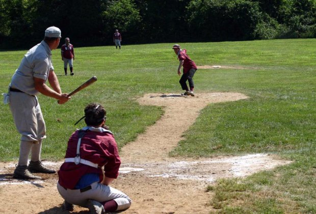 Enjoy baseball circa 1864 at Old Bethpage Village Restoration. Photo courtesy of the village restoration