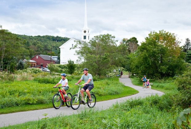 Biking is easy for families along Stowe's Recreation Path. Photo courtesy of Go Stowe