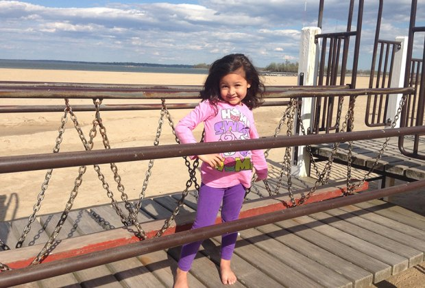 Orchard Beach Playground is right on the beach!
