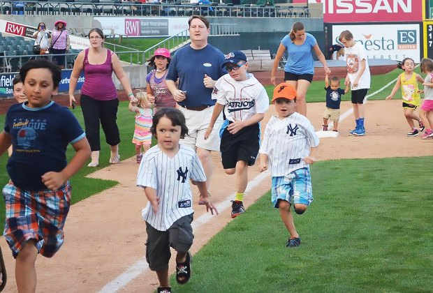 Somerset Patriots' games include tons of family fun, like fireworks and running the bases. Photo courtesy of the team