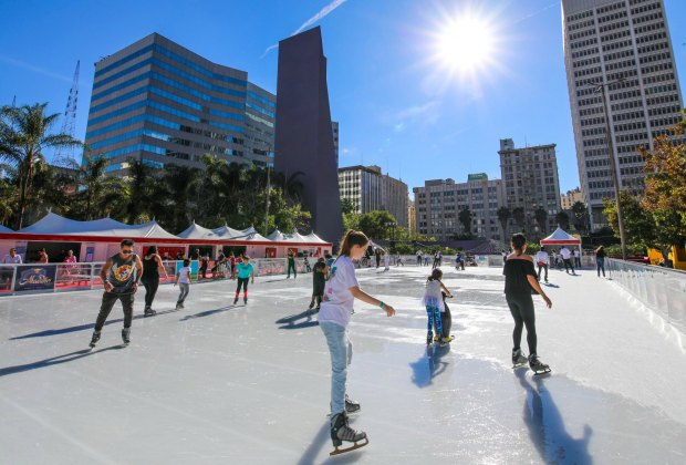 Head downtown and take a spin around Pershing Square's outdoor ice rink. Photo courtesy of Holiday Ice Rink DTLA