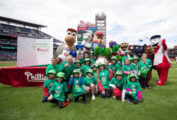 The Phanatic and the Galapagos Gang, photo courtesy of the Philadelphia Phillies