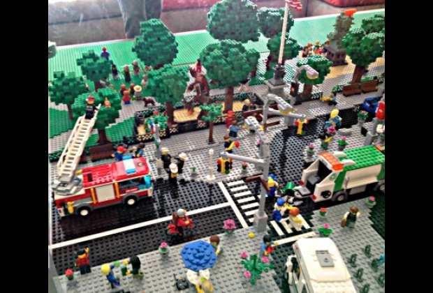Look for fun details in the Flatiron display in the Lego Lounge