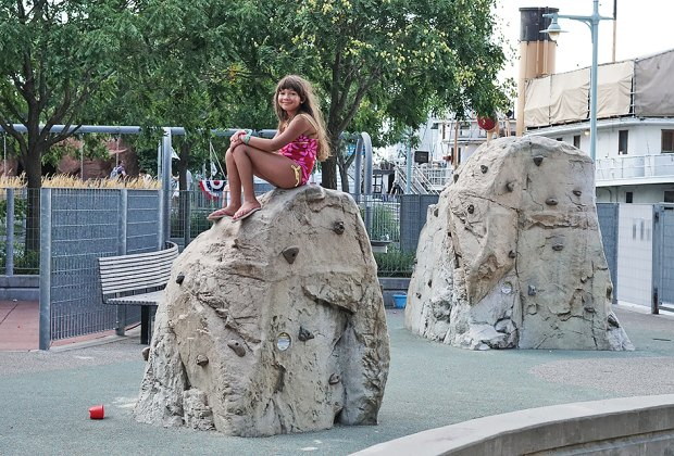 The faux boulders are a big attraction at Pier 25 Playground.