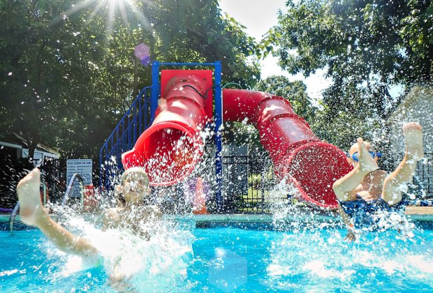 Pierce has a separate pool for every age. Each summer, campers graduate up to a larger pool with more water features.