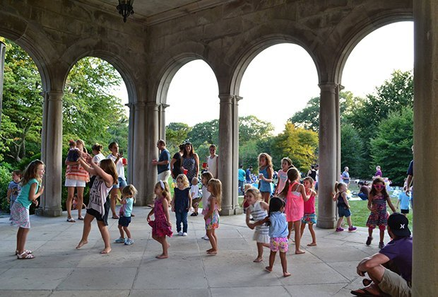 Kids and parents alike will delight in a free sunset concert outdoors at Planting Fields Arboretum this summer. Photo courtesy of the arboretum
