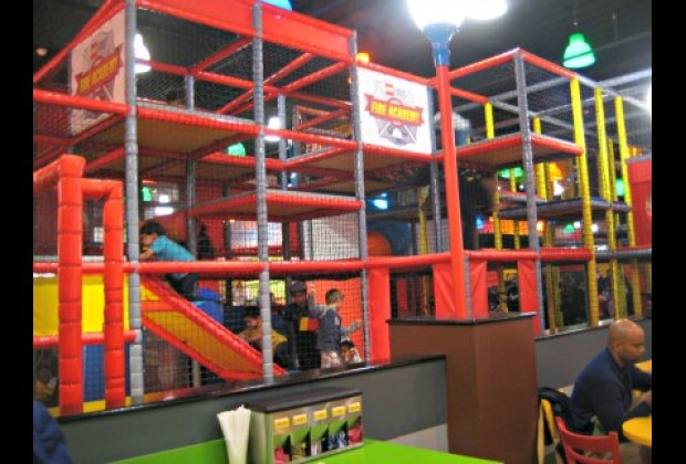 Romp in the multi-level Lego Fire Academy play structure