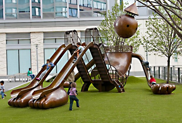 Climb and play on the Tom Otterness Playground near Times Square