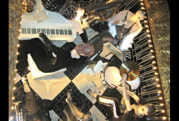 An upside-down band at Bergdorf Goodman