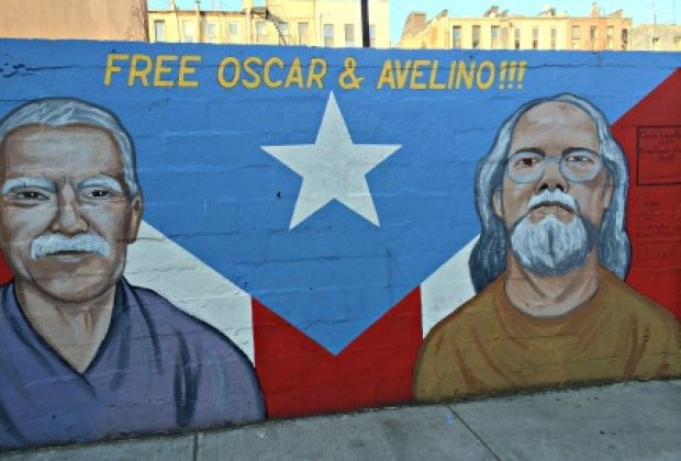 A lot of East Harlem street art is political and connected to El Barrio's history:<br/>This mural calls for the freedom of two imprisoned Puerto Rican<br/>independence activists