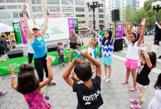 Summer in the Square means high-energy activities for kids, including a fitness challenge. Photo courtesy of the event
