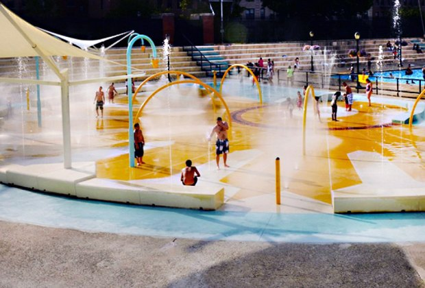 The splash pad at Crotona Park includes geysers that shoot straight up, as well as gentle misters for little kids.