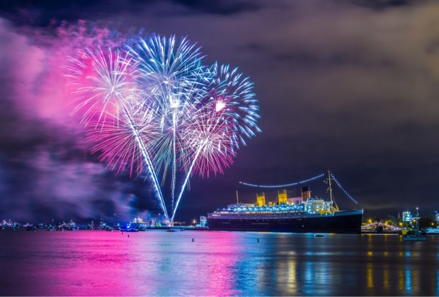 Fireworks over Long Beach. Photo courtesy of the Queen Mary
