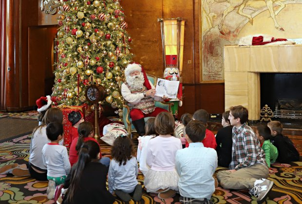 Storytime with Santa himself at the Queen Mary. Photo by Mathew Martinez courtesy of The Queen Mary