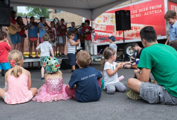 Kids making music at Ravenswood ArtWalk. Photo courtesy of the event