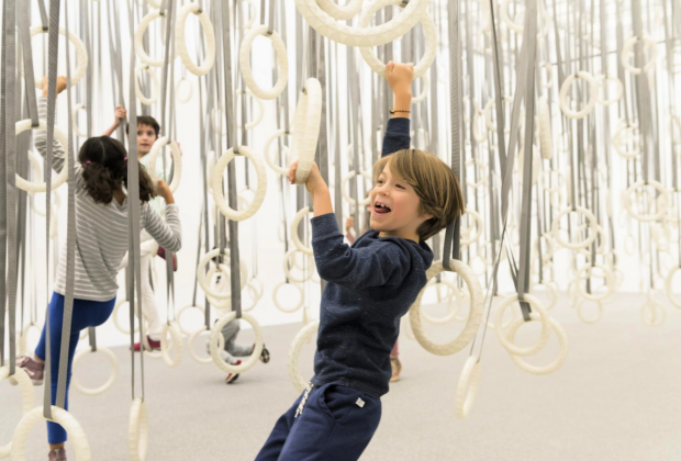 "Climb among hundreds of gymnastic rings suspended from the ceiling at the Institute of Contemporary Art/Boston's installation - ""William Forsythe: Choreographic Objects"". Photo by Liza Voll courtesy of ICA/Boston"