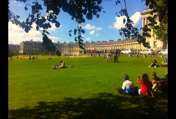Take some time out on the lawns in front of the Royal Crescent