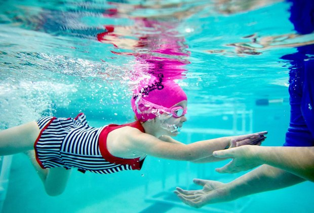 SafeSplash Swim School offers year-round swim lessons in warm-water indoor pools.