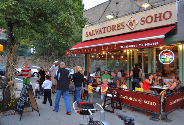 Grab an outside table on a warm night at Salvatore's of Soho, located near Wave Hill in the Bronx.