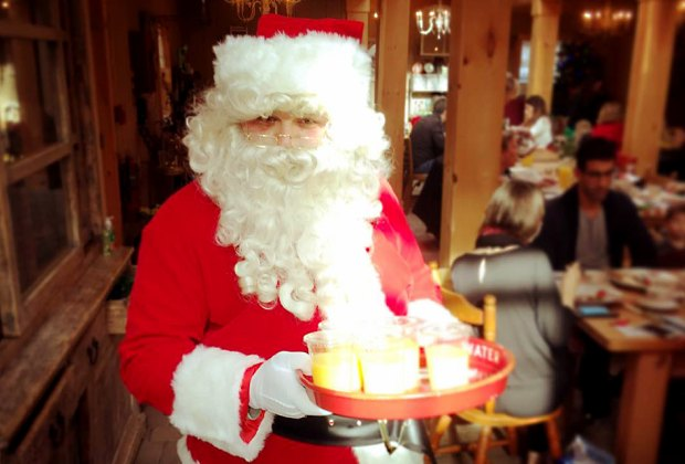 Santa serves up fresh juice and pancakes at  Fresh & Fancy Farms. Photo courtesy of the farm