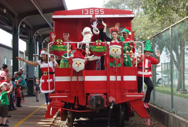 All aboard! The Santa Train is rolling into the Galveston Railroad Museum./Photo courtesy of Galveston Railroad Museum.