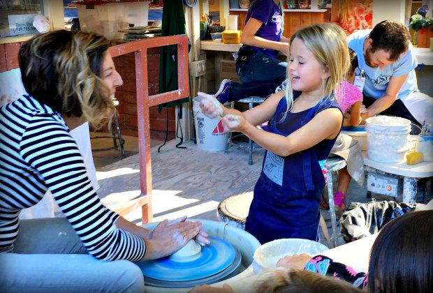 Take part in clay crafts at the ceramic center. Photo courtesy of the Sawdust Art & Craft Festival
