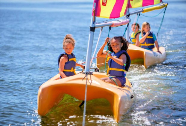 The schooner program allows kids to raise sails and steer themselves. Photo courtesy of New Haven Land Trust