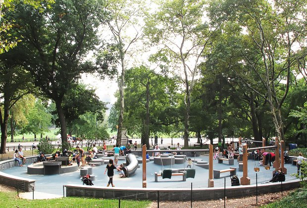 Many cool playgrounds in Central Park are shaded by tall trees. Photo courtesy of Central Park Conservancy