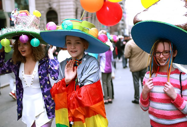 See the elaborate Easter bonnets at the NYC Easter Parade and Bonnet Festival. Photo by Simplethrill via Flickr