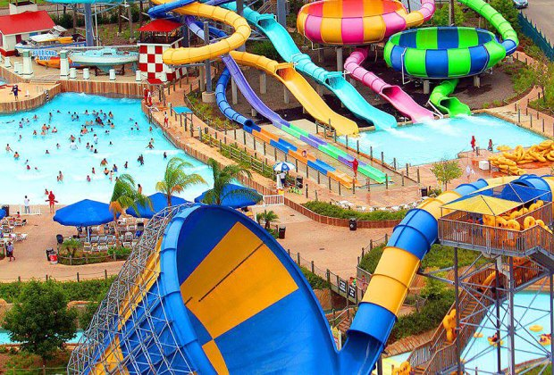 The slides at Six Flags Hurricane Harbor New Jersey keep everyone cool.