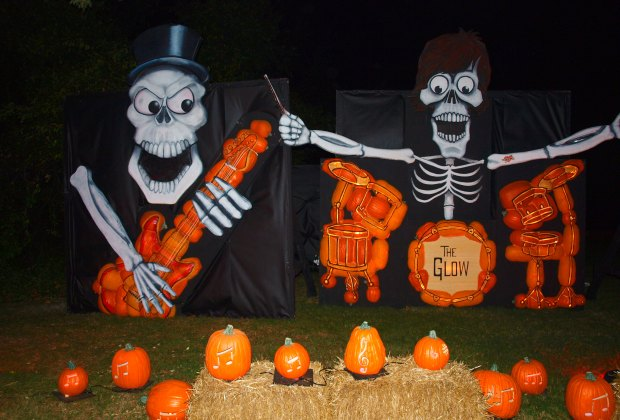 A huge skeleton band made out of pumpkins lights up the night at THE GLOW. Photo courtesy of the author