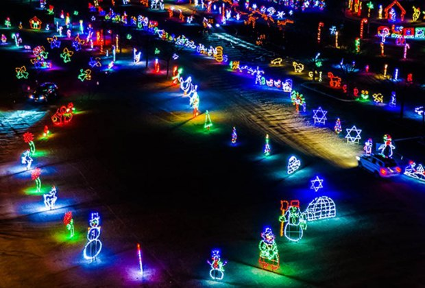 Drive-thru Christmas lights at Skylands Stadium's Christmas Light Show and Village
