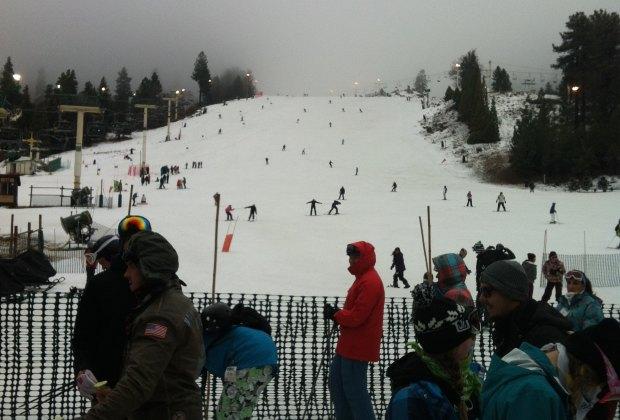 A snowy lift line