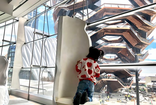 There's an amazing view of The Vessel from Snark Park, NYC's latest kid-friendly public art exhibit.