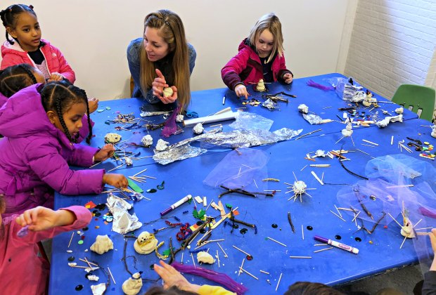Children enjoy free winter-inspired art activities at the Brookline Arts Center's annual Snowflake Festival. Photo courtesy of Brookline Arts Center